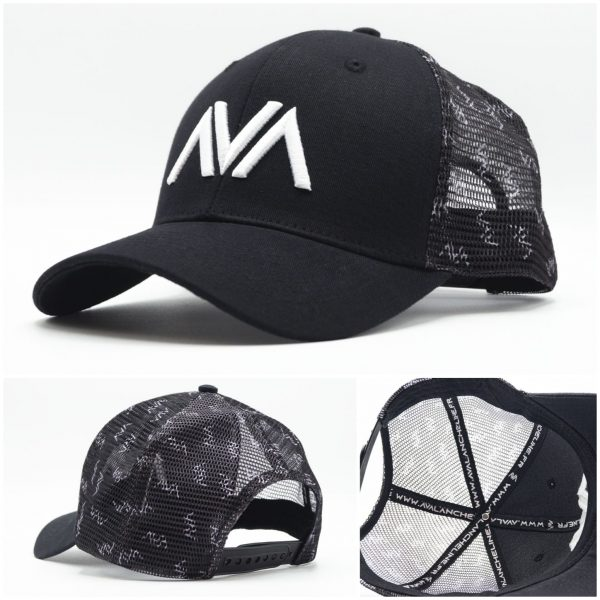 Casquette trucker filet broderie Avalanche Line Black and White HG 4